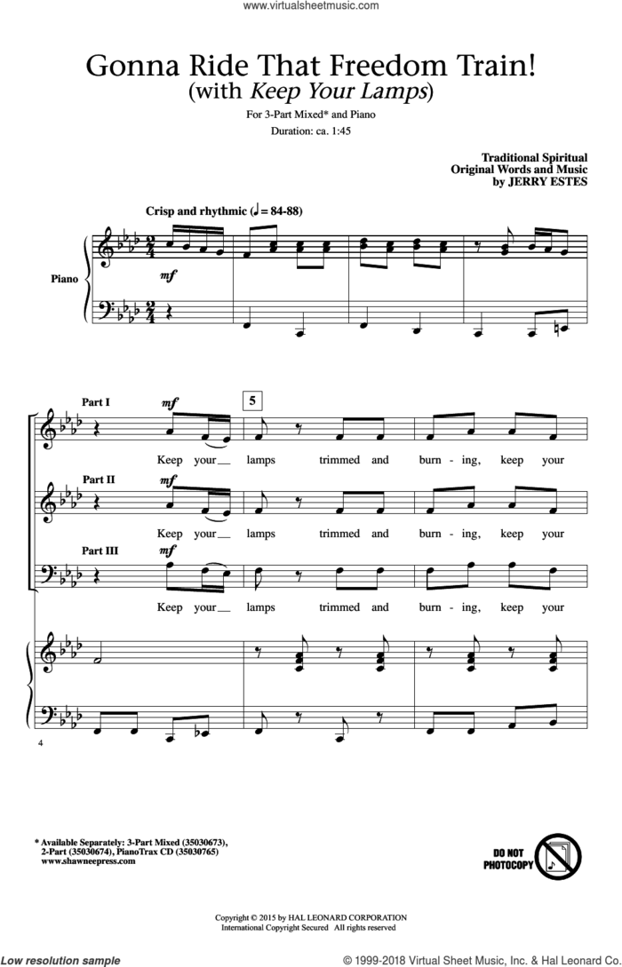 Gonna Ride That Freedom Train! (With Keep Your Lamps) sheet music for choir (3-Part Mixed) by Jerry Estes, intermediate skill level