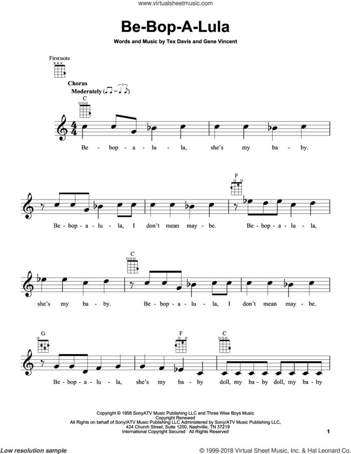 Be-Bop-A-Lula sheet music for ukulele by Gene Vincent & Tex Davis, Gene Vincent and Tex Davis, intermediate skill level