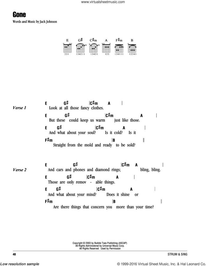 Gone sheet music for guitar (chords) by Jack Johnson, intermediate skill level