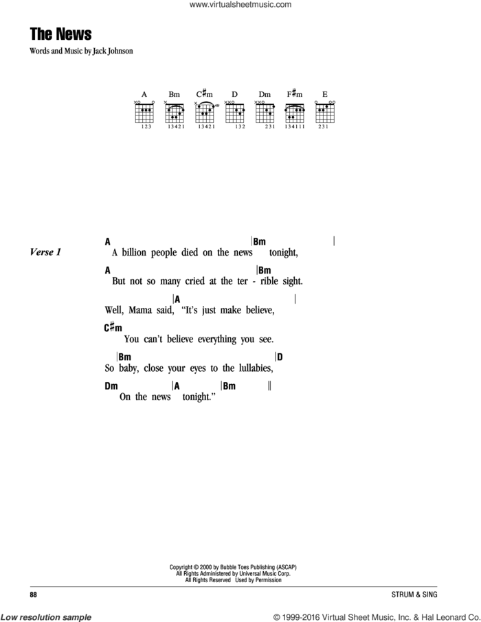 The News sheet music for guitar (chords) by Jack Johnson, intermediate skill level