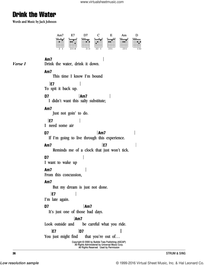 Drink The Water sheet music for guitar (chords) by Jack Johnson, intermediate skill level