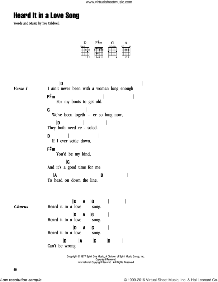 Heard It In A Love Song sheet music for guitar (chords) by Marshall Tucker Band and Toy Caldwell, intermediate skill level
