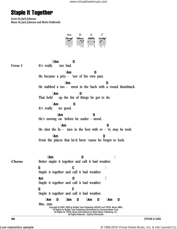 Staple It Together sheet music for guitar (chords) by Jack Johnson and Merlo Podlewski, intermediate skill level