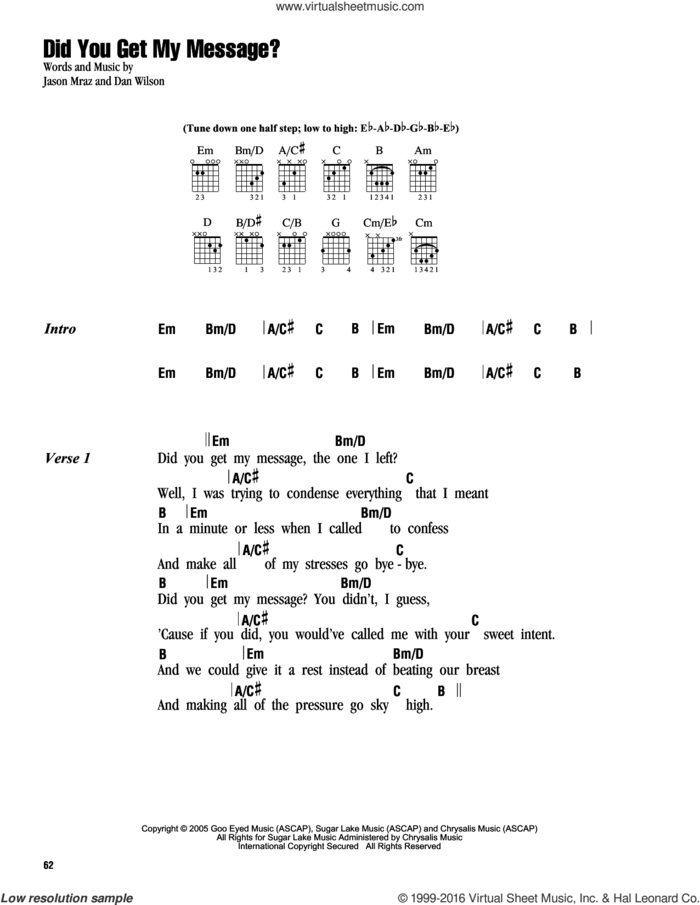 Did You Get My Message? sheet music for guitar (chords) by Jason Mraz and Dan Wilson, intermediate skill level