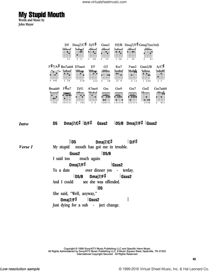 My Stupid Mouth sheet music for guitar (chords) by John Mayer, intermediate skill level