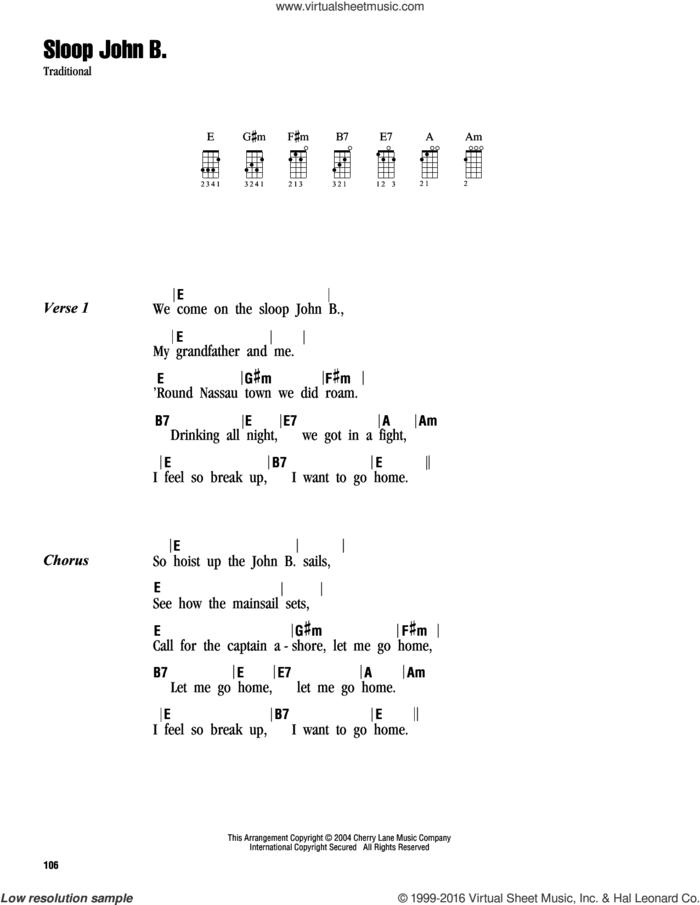 Sloop John B. sheet music for ukulele (chords), intermediate skill level