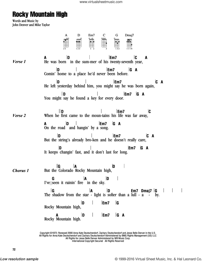 Rocky Mountain High sheet music for ukulele (chords) by John Denver and Mike Taylor, intermediate skill level
