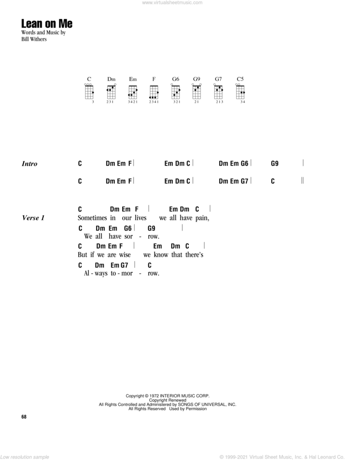 Lean On Me sheet music for ukulele (chords) by Bill Withers and Club Nouveau, intermediate skill level
