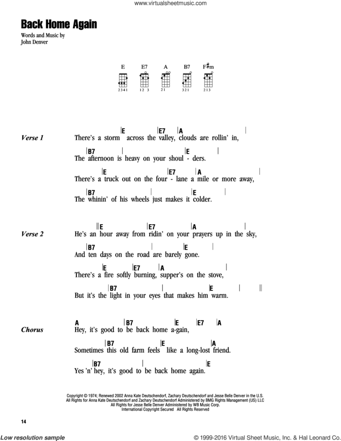 Back Home Again sheet music for ukulele (chords) by John Denver, intermediate skill level