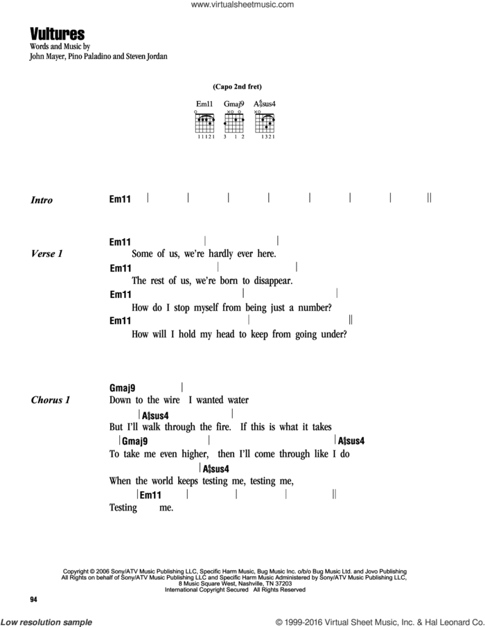 Vultures sheet music for guitar (chords) by John Mayer, Pino Paladino and Steve Jordan, intermediate skill level