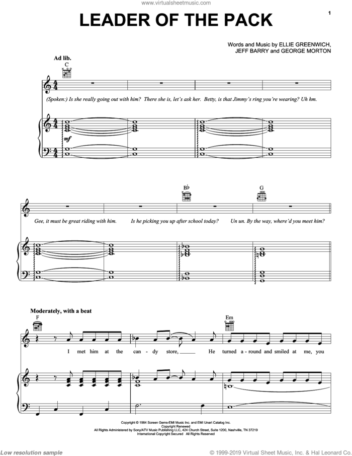Leader Of The Pack sheet music for voice, piano or guitar by The Shangri-Las, Twisted Sister, Ellie Greenwich, George Morton and Jeff Barry, intermediate skill level