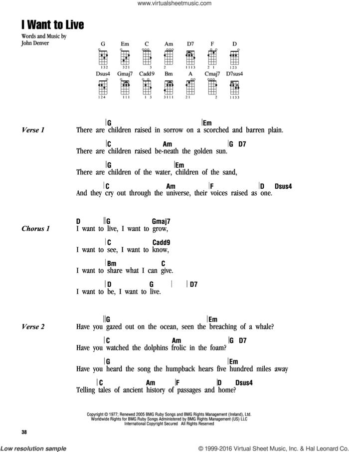 I Want To Live sheet music for ukulele (chords) by John Denver, intermediate skill level