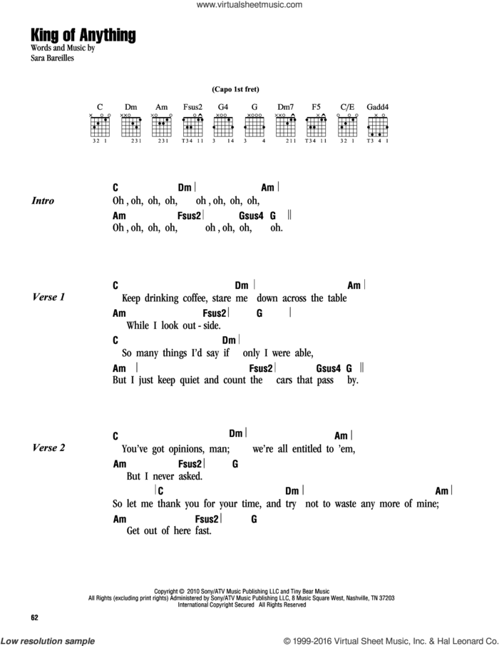 King Of Anything sheet music for guitar (chords) by Sara Bareilles, intermediate skill level