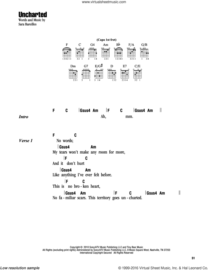 Uncharted sheet music for guitar (chords) by Sara Bareilles, intermediate skill level
