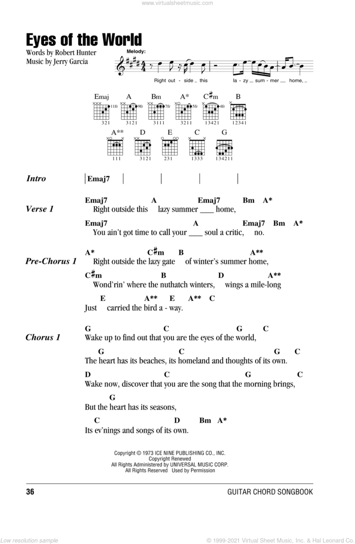 Eyes Of The World sheet music for guitar (chords) by Grateful Dead, Jerry Garcia and Robert Hunter, intermediate skill level