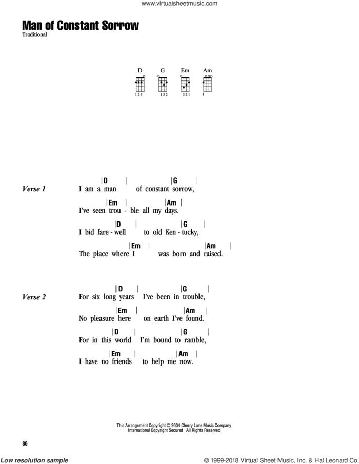 Man Of Constant Sorrow sheet music for ukulele (chords), intermediate skill level