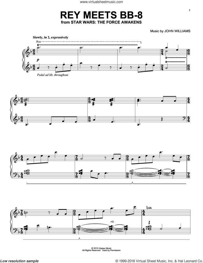 Rey Meets BB-8 sheet music for piano solo by John Williams, intermediate skill level
