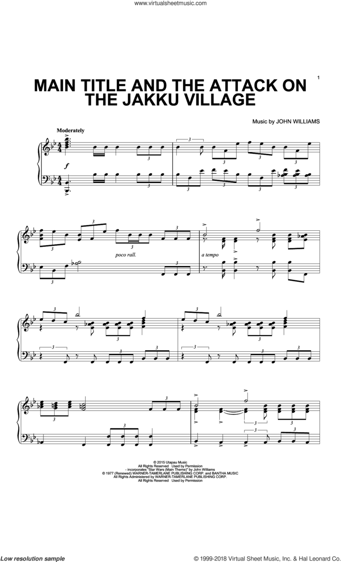 Main Title And The Attack On The Jakku Village sheet music for piano solo by John Williams, intermediate skill level