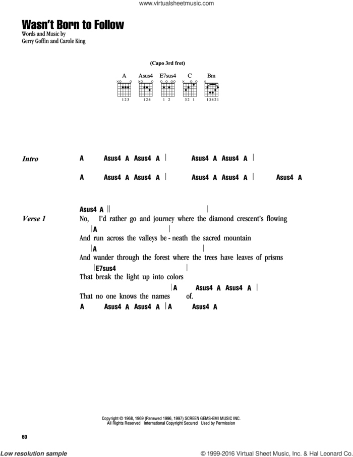 Wasn't Born To Follow sheet music for guitar (chords) by Carole King and Gerry Goffin, intermediate skill level