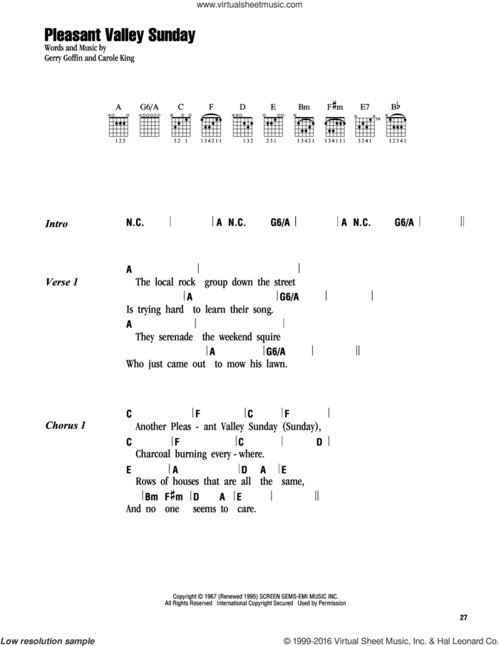 Pleasant Valley Sunday sheet music for guitar (chords) by Carole King, The Monkees and Gerry Goffin, intermediate skill level