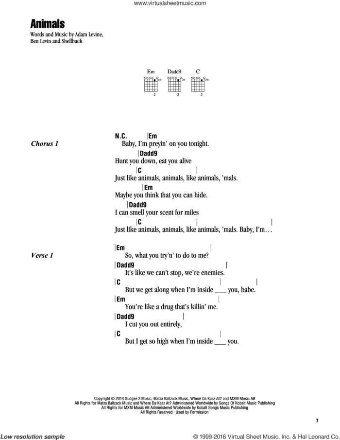 Animals sheet music for guitar (chords) by Maroon 5, Adam Levine, Benjamin Levin and Shellback, intermediate skill level