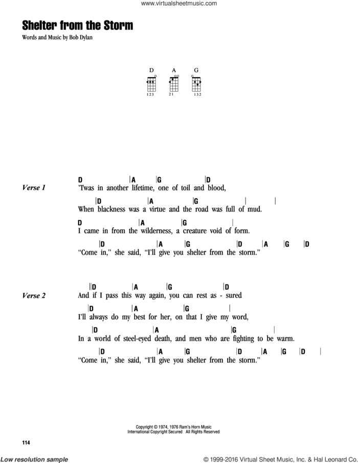 Shelter From The Storm sheet music for ukulele (chords) by Bob Dylan, intermediate skill level