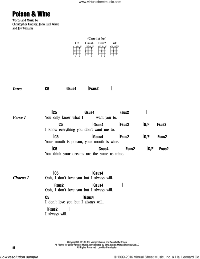 Poison and Wine sheet music for guitar (chords) by The Civil Wars, Chris Lindsey, John White and Joy Williams, intermediate skill level