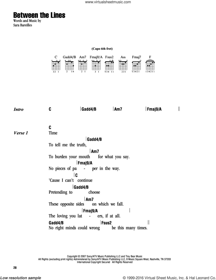 Between The Lines sheet music for guitar (chords) by Sara Bareilles, intermediate skill level