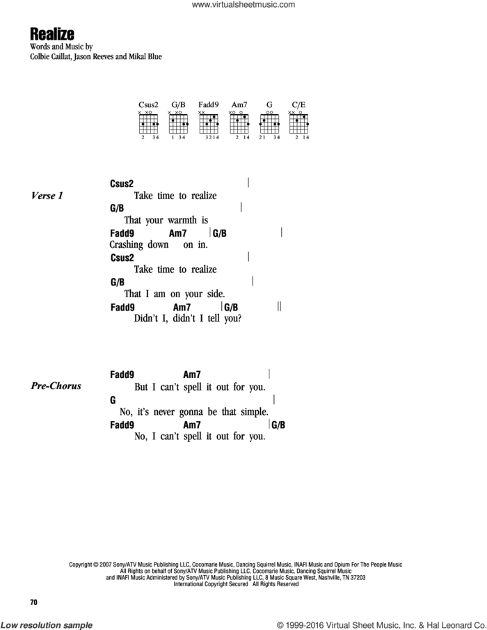 Realize sheet music for guitar (chords) by Colbie Caillat, Jason Reeves and Mikal Blue, intermediate skill level