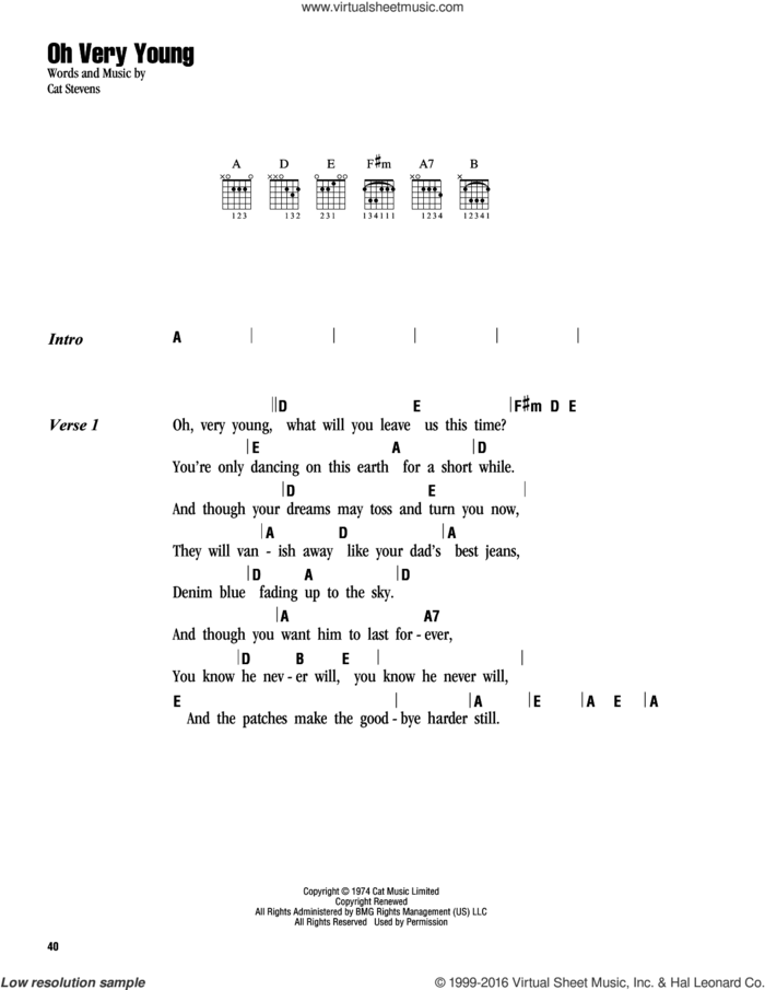 Oh Very Young sheet music for guitar (chords) by Cat Stevens and Yusuf Islam, intermediate skill level