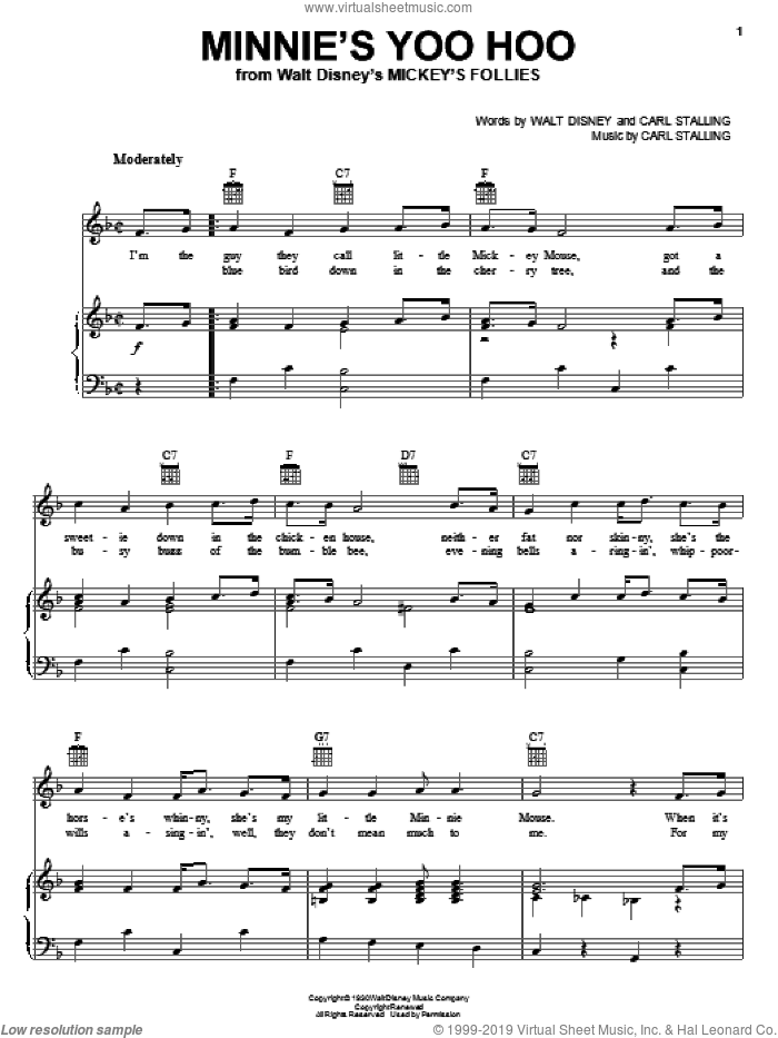 Minnie's Yoo Hoo sheet music for voice, piano or guitar by Walt Disney and Carl Stalling, intermediate skill level