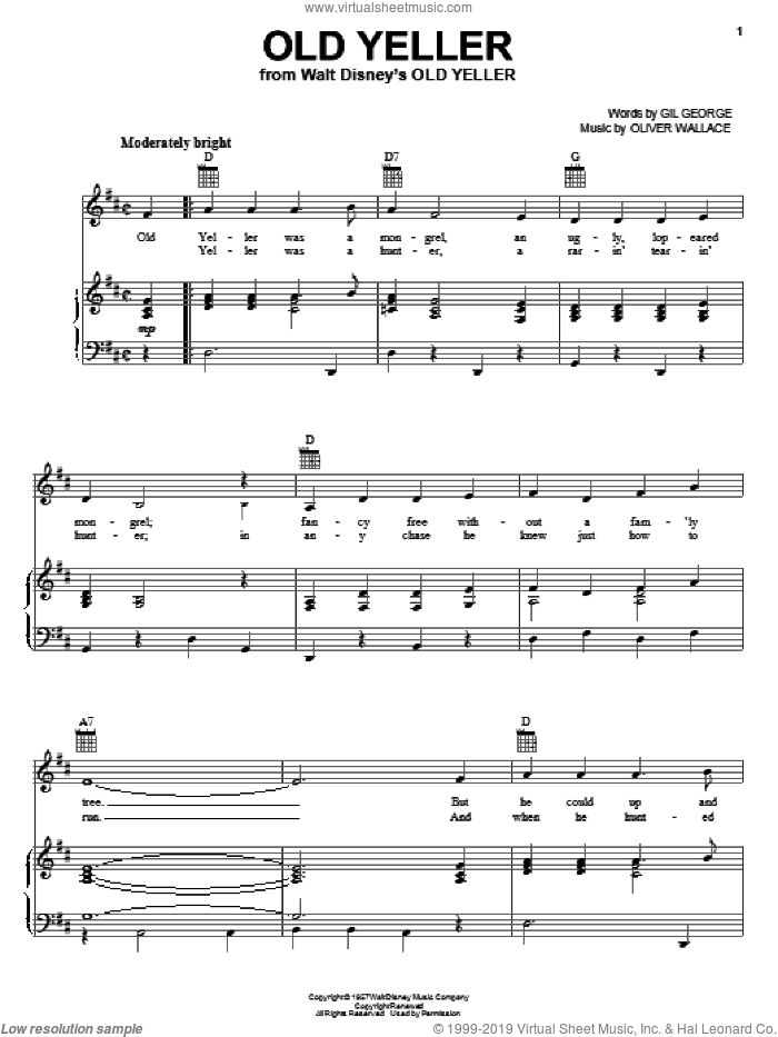 Old Yeller sheet music for voice, piano or guitar by Gil George and Oliver Wallace, intermediate skill level