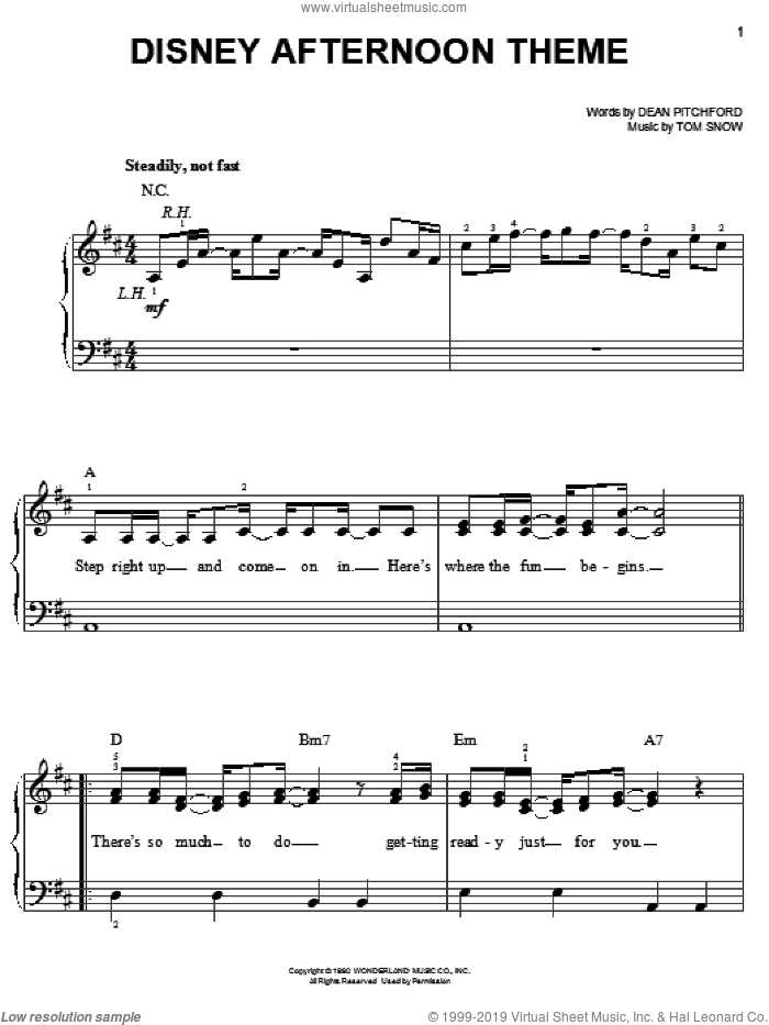 Disney Afternoon Theme sheet music for piano solo by Dean Pitchford and Tom Snow, easy skill level