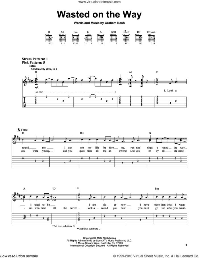 Wasted On The Way sheet music for guitar solo (easy tablature) by Crosby, Stills & Nash and Graham Nash, easy guitar (easy tablature)