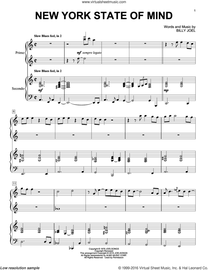 New York State Of Mind sheet music for piano four hands by Billy Joel, intermediate skill level