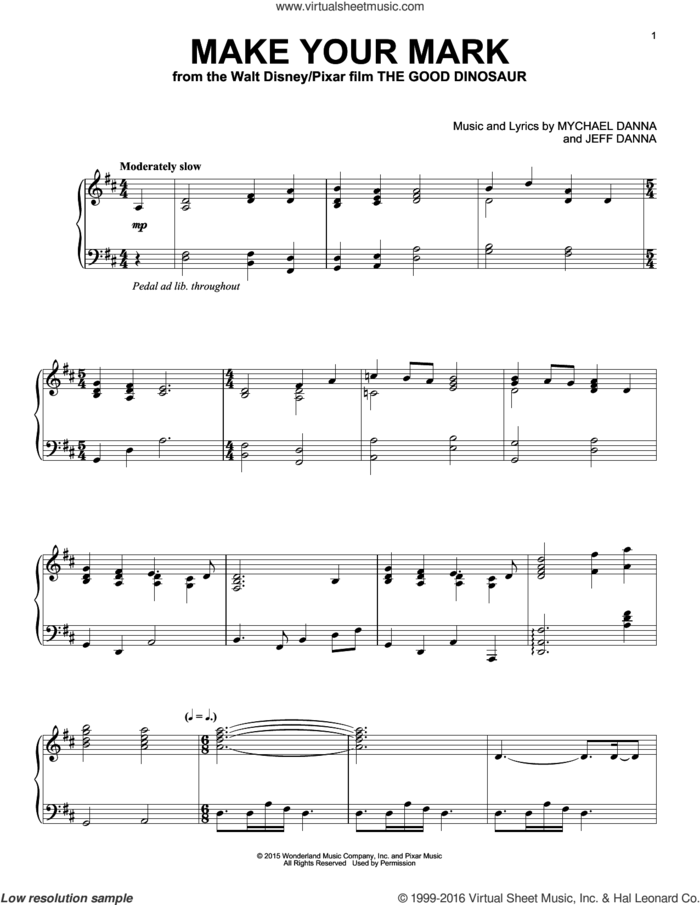 Make Your Mark sheet music for piano solo by Mychael & Jeff Danna, Jeff Danna and Mychael Danna, intermediate skill level