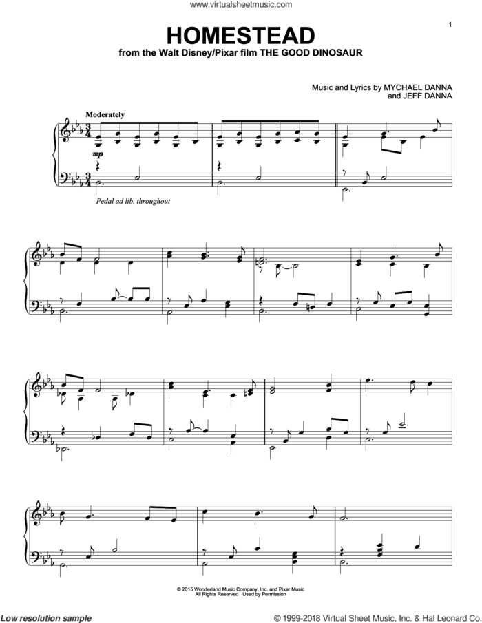 Homestead sheet music for piano solo by Mychael & Jeff Danna, Jeff Danna and Mychael Danna, intermediate skill level