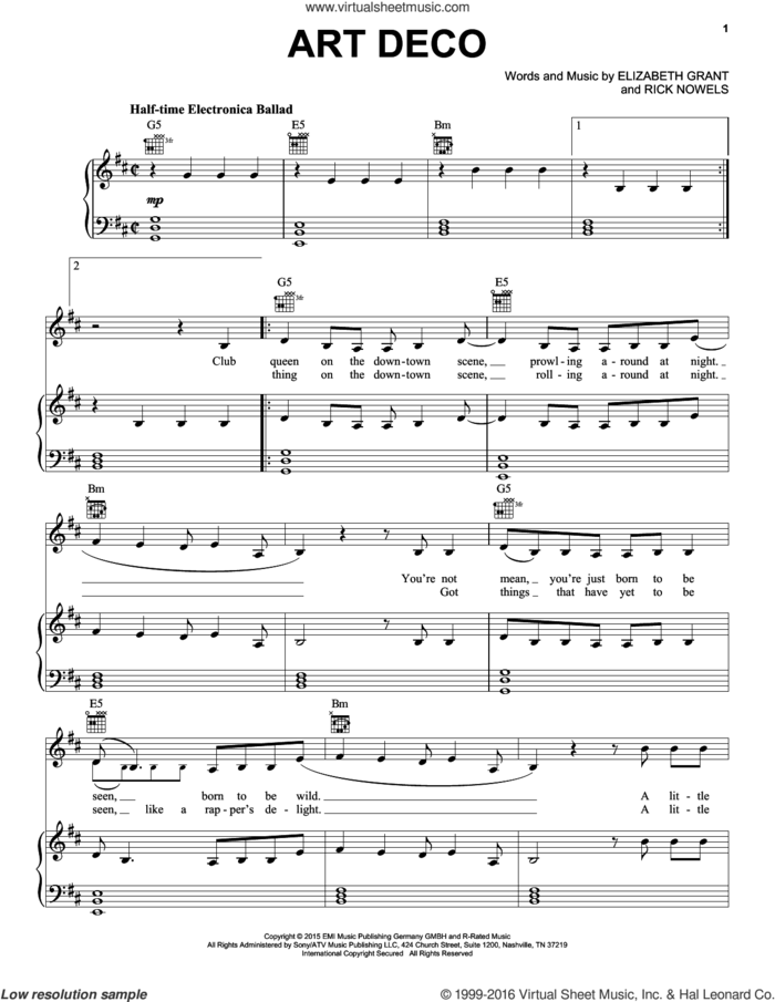 Art Deco sheet music for voice, piano or guitar by Lana Del Rey, Lana Del Ray, Elizabeth Grant and Rick Nowels, intermediate skill level