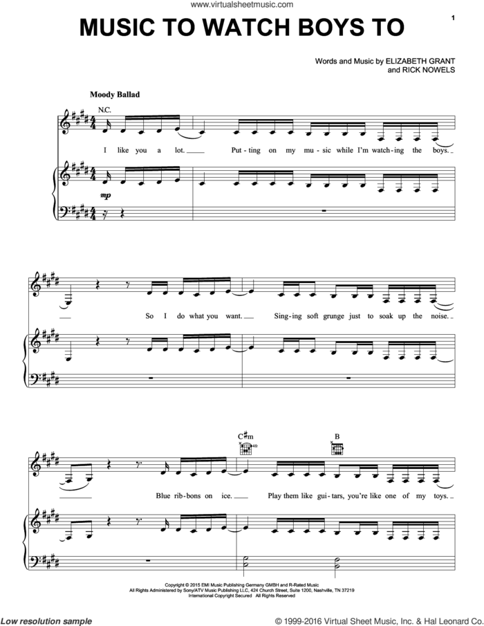 Music To Watch Boys To sheet music for voice, piano or guitar by Lana Del Rey, Lana Del Ray, Elizabeth Grant and Rick Nowels, intermediate skill level