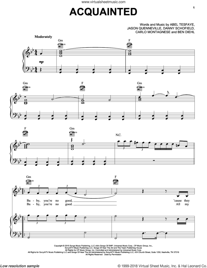 Acquainted sheet music for voice, piano or guitar by The Weeknd, Abel Tesfaye, Ben Diehl, Carlo Montagnese, Danny Schofield and Jason Quenneville, intermediate skill level