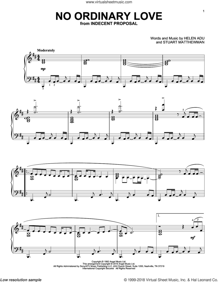 No Ordinary Love sheet music for piano solo by Sade, Helen Adu and Stuart Matthewman, intermediate skill level
