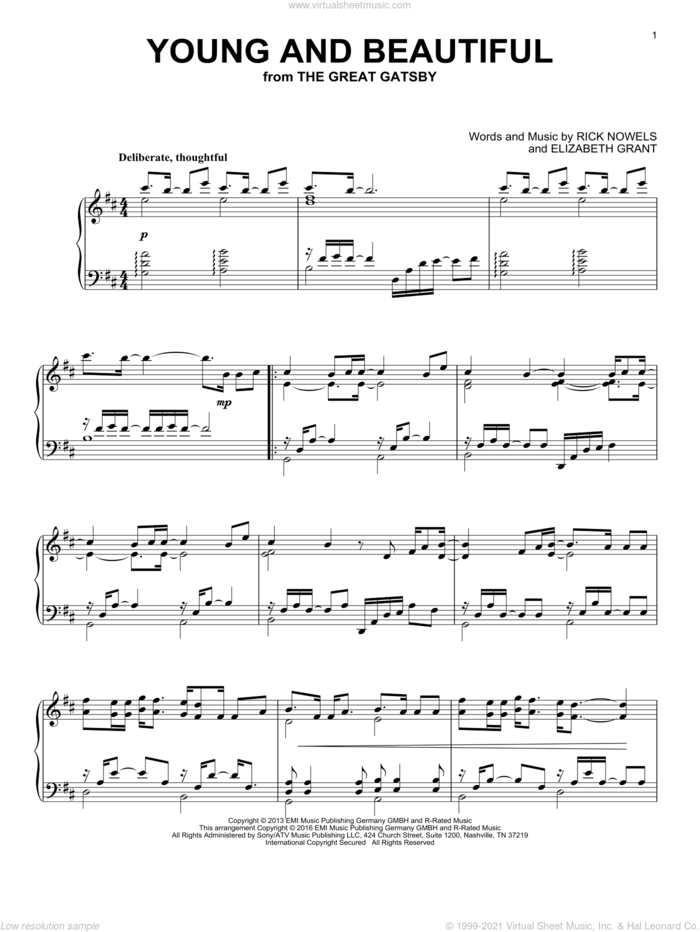 Young And Beautiful sheet music for piano solo by Lana Del Rey, Lana Del Ray, Elizabeth Grant and Rick Nowels, intermediate skill level