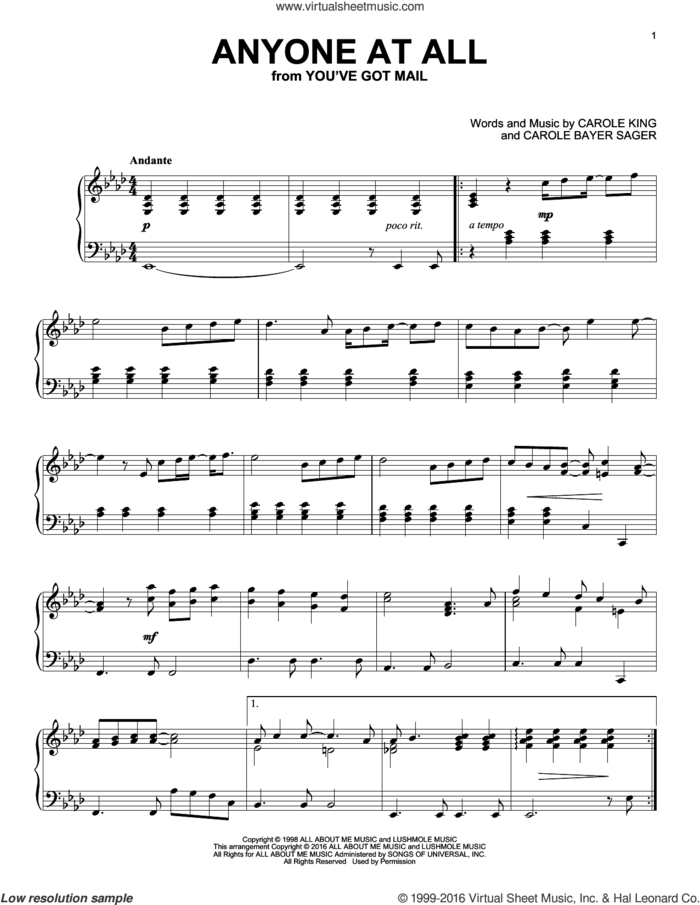 Anyone At All sheet music for piano solo by Carole King and Carole Bayer Sager, intermediate skill level