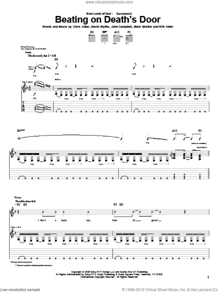 Beating On Death's Door sheet music for guitar (tablature) by Lamb Of God, Chris Adler, David Blythe, John Campbell, Mark Morton and Will Adler, intermediate skill level
