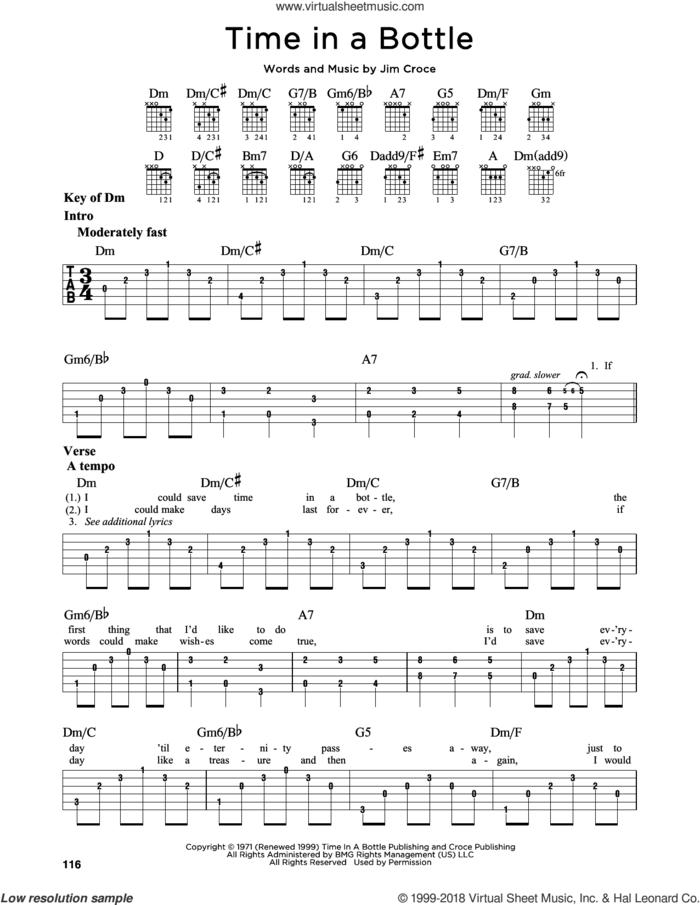 Time In A Bottle sheet music for guitar solo (lead sheet) by Jim Croce, intermediate guitar (lead sheet)