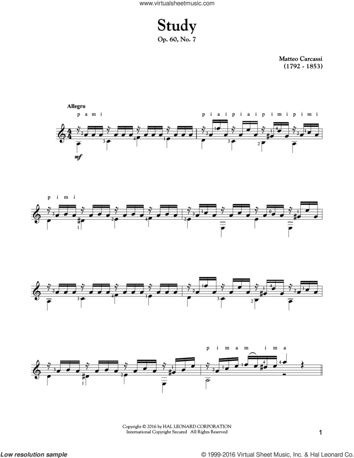 Study, Op. 60, No. 7 sheet music for guitar solo by Matteo Carcassi, classical score, intermediate skill level