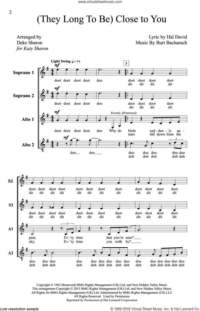 (They Long To Be) Close To You (arr. Deke Sharon) sheet music for choir (SSA: soprano, alto) by Burt Bacharach, Deke Sharon, Anne Raugh, Carpenters and Hal David, intermediate skill level