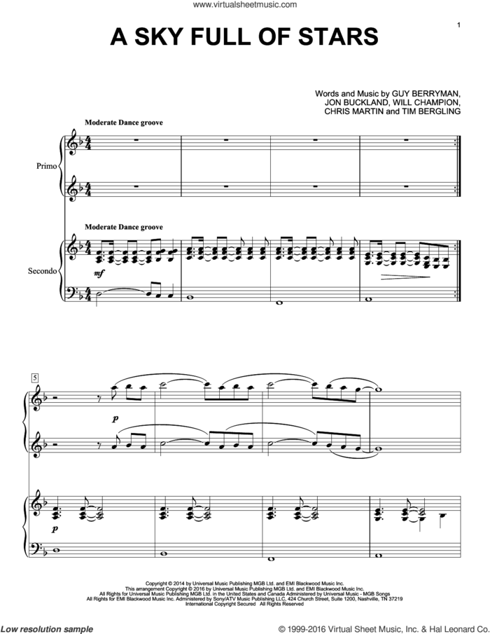 A Sky Full Of Stars sheet music for piano four hands by Guy Berryman, Coldplay, Chris Martin, Jon Buckland, Tim Bergling and Will Champion, wedding score, intermediate skill level