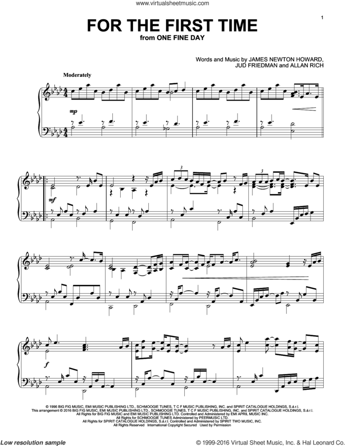 For The First Time sheet music for piano solo by Kenny Loggins, Rod Stewart, Allan Rich, James Newton Howard and Jud Friedman, intermediate skill level