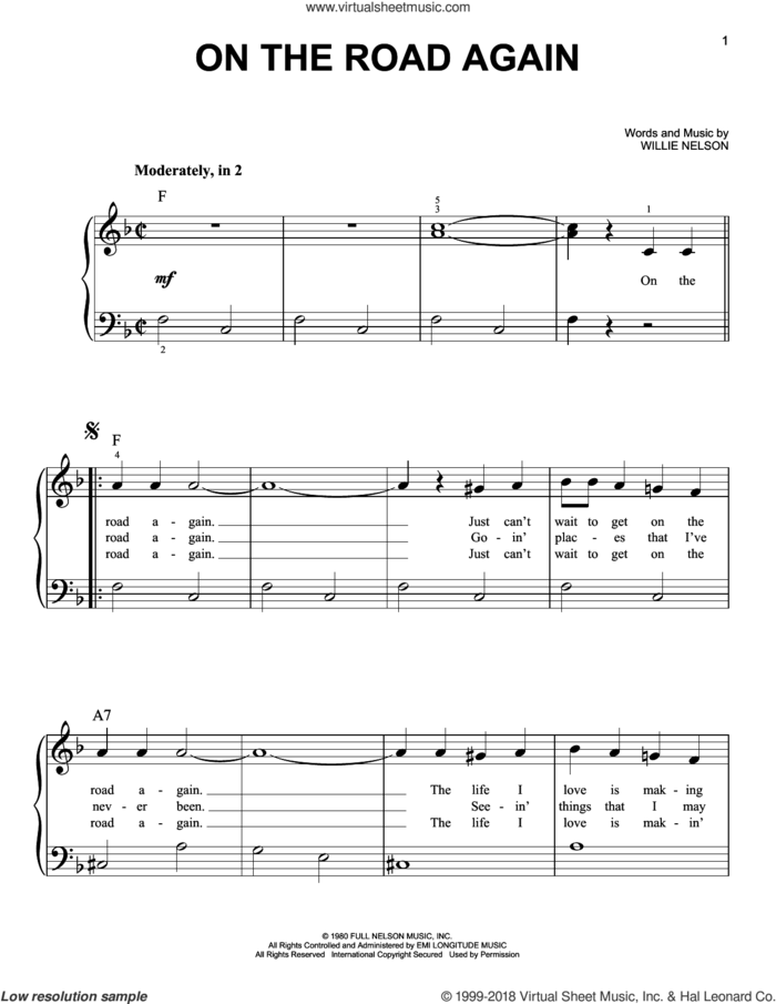 On The Road Again sheet music for piano solo by Willie Nelson, beginner skill level
